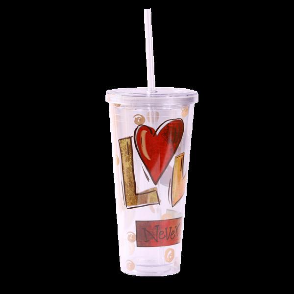 كوب مشروب بارد ( المحبة لا تسقط ابدا )