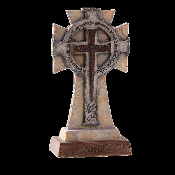 صليب خزفي مع قاعدة ( يوحنا 3: 16 )