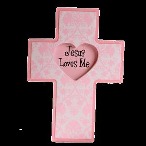 صليب يسوع يحبني ( وردي )